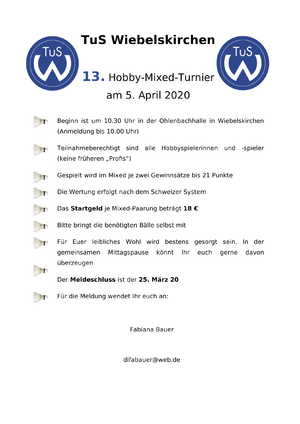 Hobby Mixed Turnier 2020 1